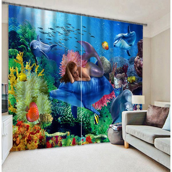 Mysterious Mermaid With Submarin World Printing 3D Blackout Curtain