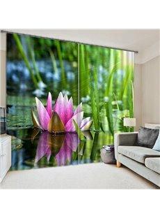 Elegant Blossoming Lotus Printing 3D Blackout Curtain