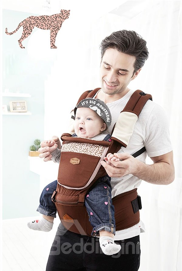 Fashionable Leopard Pattern Multi Functional 100% Cotton Baby Carrier