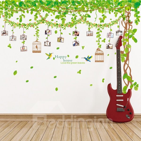 Wonderful Tree and Leaves Photo Frame Removable Wall Sticker