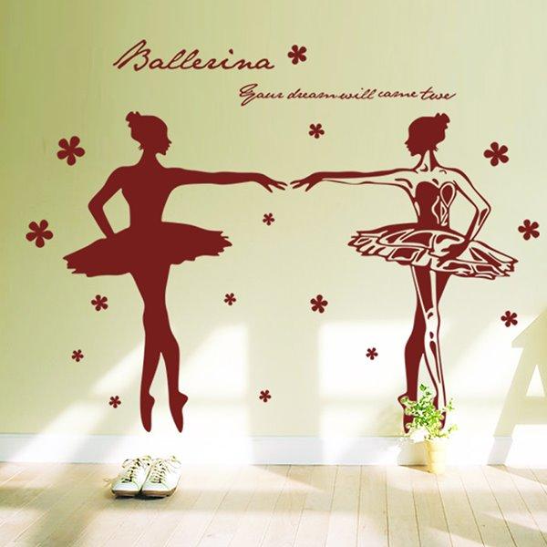 Graceful Ballet Girls Dancing Removable Wall Sticker