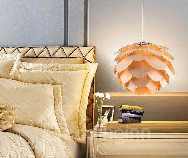 Creative Layer of Petal Design Wood Pendant Light