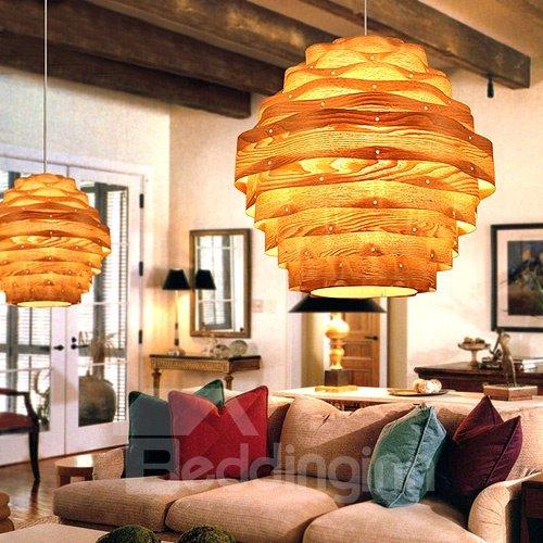 Unique Lantern Design Wood Pendant Light