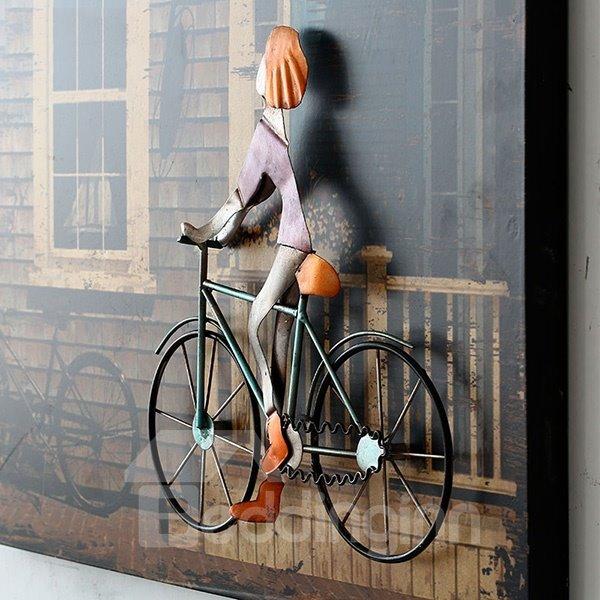 European style iron artwork 3d bike wall art for 3 d wall art