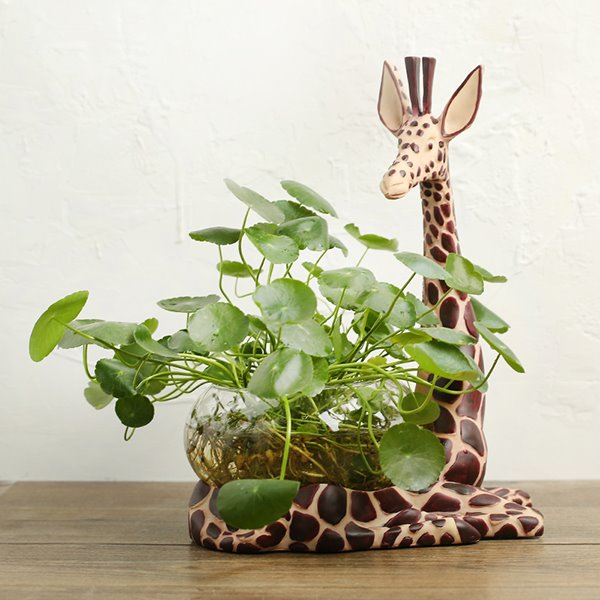 Unique Resin Giraffe Design Base Glass Flower Pot/Fish Bowl ...