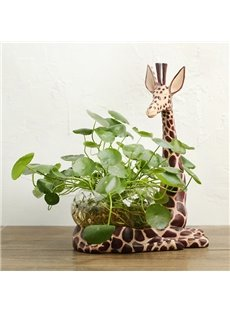 Unique Resin Giraffe Design Base Glass Flower Pot/Fish Bowl