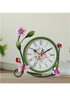 European Style Pastoral Flower Decorative Desktop Clock