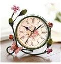 European Style Pastoral Flower Decorative Desktop Clock