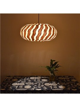 Fabulous Lantern Design Strips Pattern Wooden Pendant Light
