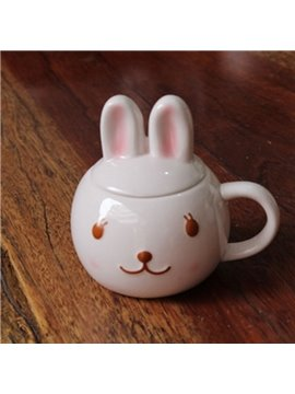 Super Cute 3D Rabbit Design Ceramic Coffee Mug with Lid