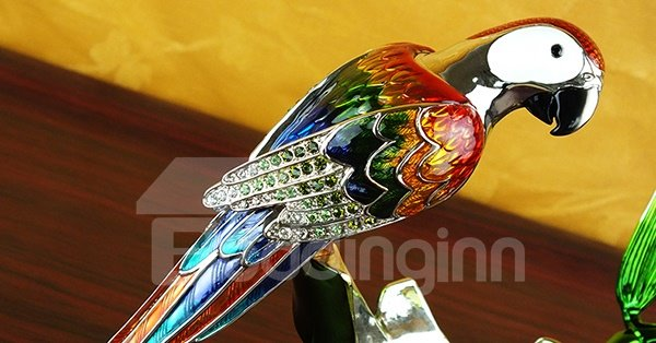 Wonderful Parrot Design Enamel Wine Rack