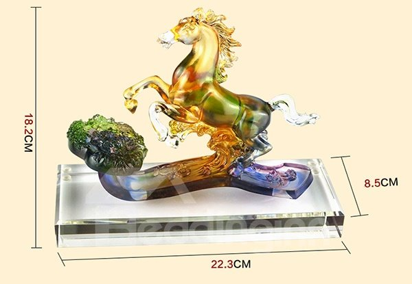 Exquisite Coloured Glaze Horse Desktop Decoration
