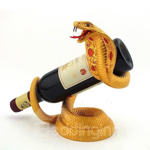 Fantastic Cobra Design Alloy Gold-Plated Wine Rack