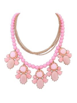 Women' s Vogue Arcylic Beads and Flower Pendant Alloy Strand Necklace