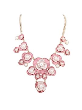 Women' s Fashion Crystal Flower Pearl Necklace