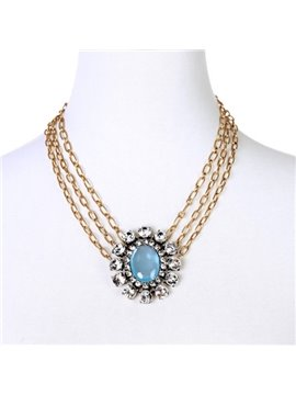 Women' s Multi-layer Diamante Gemstone Pendant Strand Necklace