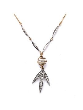 Women' s Fashion Pearl Diamante Leaf Pendant Necklace