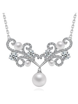 Women' s Stylish Zircon Pearl Pendant Necklace