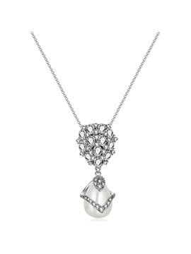 Women' s Vogue Zircon Dimante Pearl Pendante Necklace