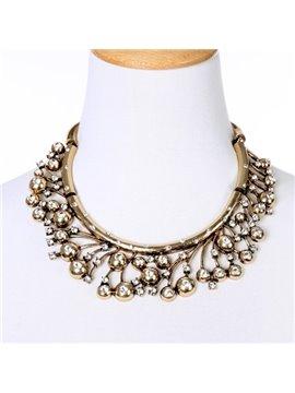 Women' s Vogue Crystal Dimante Alloy Statement Necklace
