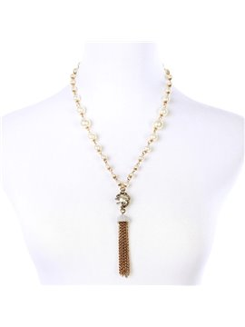 Women' s Vogue Glass Pearl Tassel Pendant Necklace