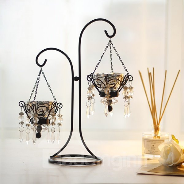 Fantastic Iron Artwork Crystal Pendant 2-Head Candle Holder