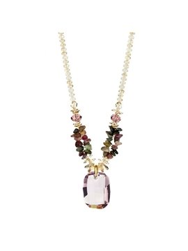 Women' s Austrian Crystal Jade Pendant Necklace