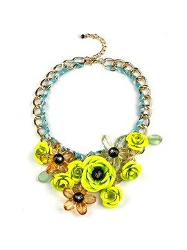 Women' s Fluorescent Knitting Flower Statement Necklace