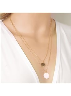 Women' s Double Chain Circle Pendant Necklace