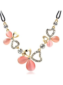 Women' s Diamante Crystal Floral Statement Necklace