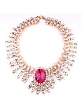 Women' s Centipede Shape Gemstone Alloy Tassel Necklace