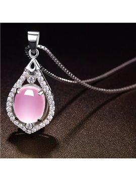 Women' s Natural Purple Crystal Stone Pendant Silver Necklace