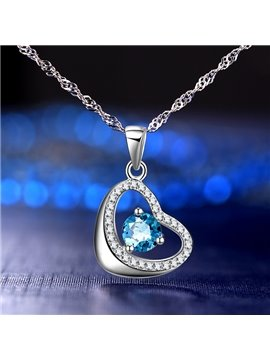 Women' s Romantic Heart Shape 925 Sterling Silver Pendant Necklace