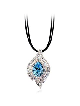 Women' s Colorful Diamante Stone Pendant Necklace