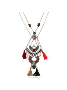 Women' s Vintage National Style Tassel Pendant Necklace