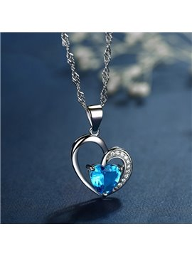 Women' s Vogue 925 Sterling Silver Crystal Heart Shape Pendant Necklace
