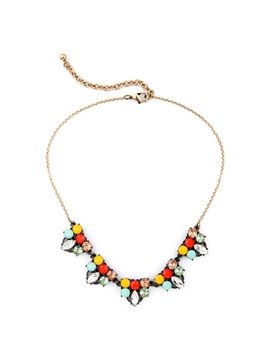 Women' s Fashion Diamante Candy Color Crystal Beads Statement Necklace