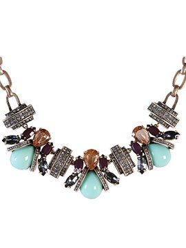 Women' s Vintage Crystal Beads Geometric Decoration Statement Necklace