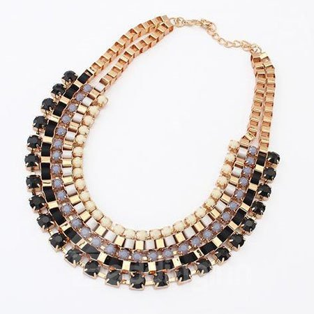 Woemns Fashion Colorful Sparkle Statement Necklace