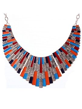 women' s Vogue Colorful Gemstone Statement Necklace