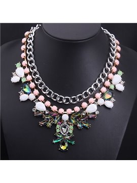 women' s Floral Crystal Bead Stramnd Necklace
