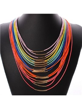 women' s Colorful Fabric Strand Necklace