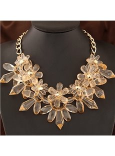 Women's Fashion Crystal Flower Chain Necklace