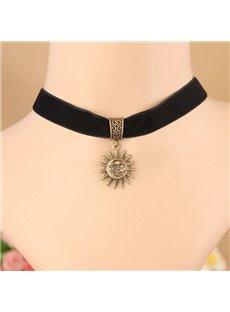 Women's Vintage Sun God Pendant Choker Necklace
