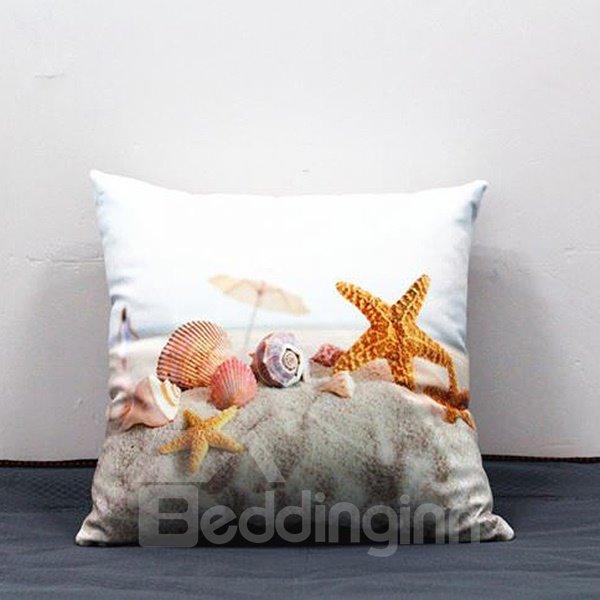 Shell and Starfish Printing White Plush Throw Pillow