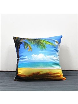 Coconut Tree and Beach Scenery Print Plush Throw Pillow