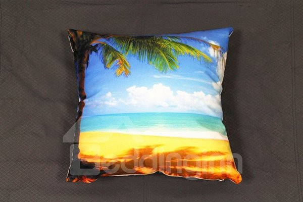Coconut Tree and Beach Scenery Print Plush Throw Pillow - beddinginn.com