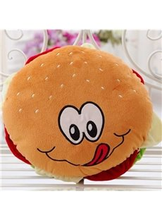 Cute Vivid Hamburger Shape Design Plush Throw Pillow