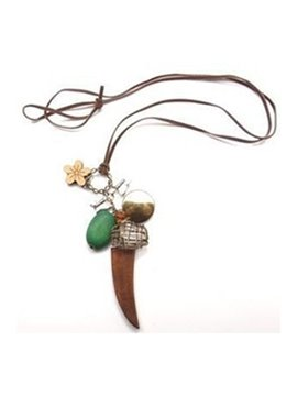Women's Vintage Wooden Flower Alloy Pendant Necklace