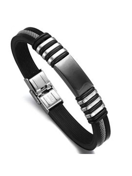 Men's Handsome Black Titanium Steel Silicon Bracelet